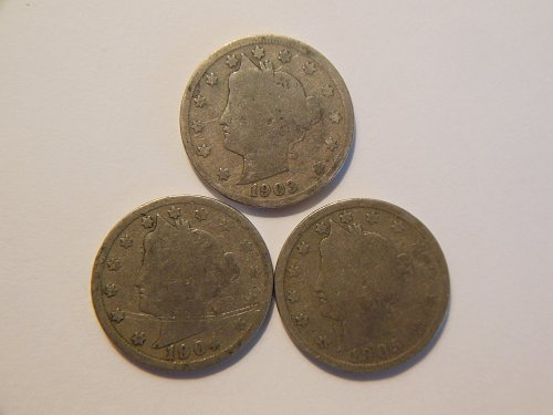 *Set of 3* 1903, 1904 & 1905 Liberty V Nickels