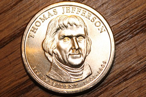 2007-P Thomas Jefferson Presidential Dollar Coin - Uncirculated from mint roll!!
