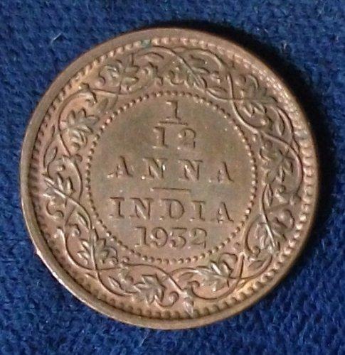 1932 India/British 1/12 Anna XF-AU
