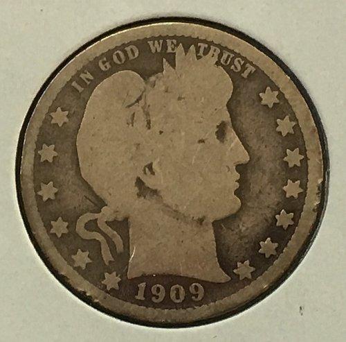 1909 P Barber Quarter