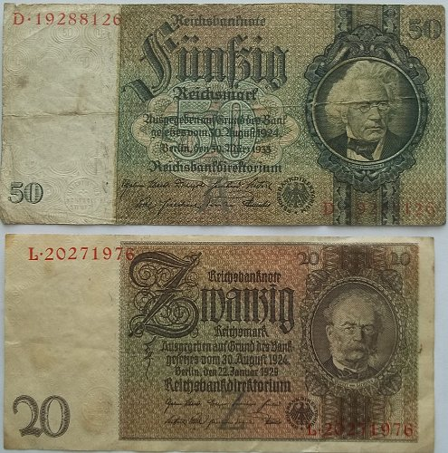 GERMANY 2 PIECE OLD WORLD PAPER MONEY LOT/ EARLY 1920,s