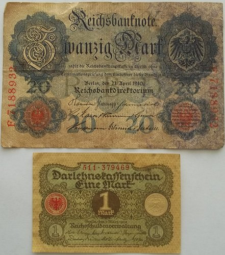 GERMANY 2 PIECE OLD WORLD PAPER MONEY LOT/ EARLY 1920,s  #2