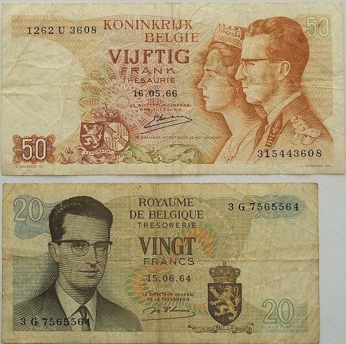 BELGIUM 2 PIECE OLD WORLD PAPER MONEY LOT
