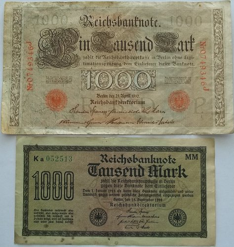 GERMANY 2 PIECE OLD WORLD PAPER MONEY LOT/ EARLY 1920,s  #3