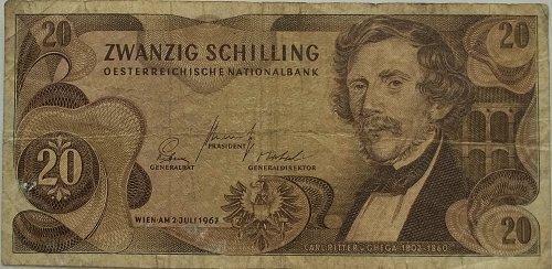 AUSTRIA 1967 20 SHILLING WORLD PAPER MONEY
