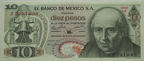 MEXICO 1970 10 PESOS WORLD PAPER MONEY UNC CONDITION NOTE! NICE