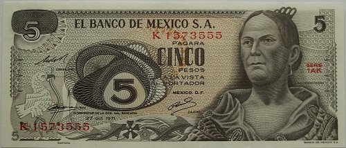 MEXICO 1972 5 PESOS WORLD PAPER MONEY UNC CONDITION NOTE! NICE