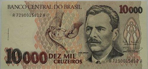 BRAZIL 1993 10,000 CURZEIROS  WORLD PAPER MONEY UNC CONDITION NOTE!
