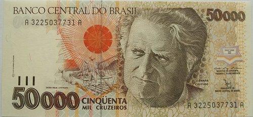 BRAZIL 1993 50,000 CURZEIROS  WORLD PAPER MONEY UNC CONDITION NOTE!