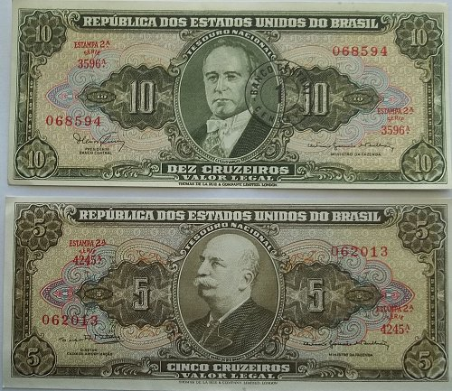 BRAZIL 2 PIECE OLD WORLD PAPER MONEY LOT