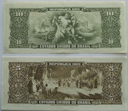 BRAZIL 2 PIECE OLD WORLD PAPER MONEY LOT