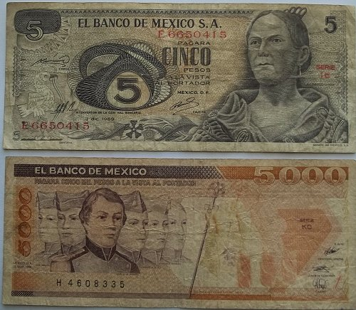 MEXICO 2 PIECE OLD WORLD PAPER MONEY LOT