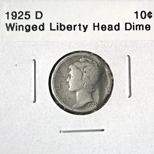 1925 D Winged Liberty Head Dime - +25 Degrees Clockwise Rotation on Reverse