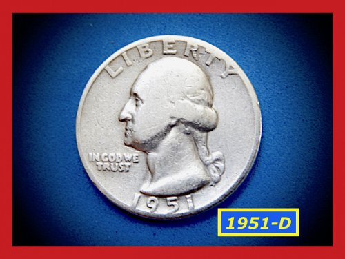 1951-D Washington Quarter ✬ CIRCULATED 'FINE' ✬  (#2727)a
