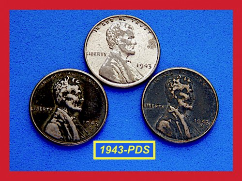 1943-PDS Steel Penny Set ✬ Circulated Condition  (#7205)a