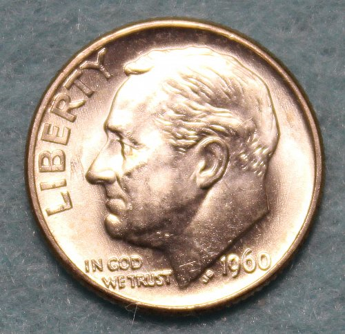 1960 D Roosevelt Dime