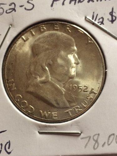 1952 S Franklin Half Dollars