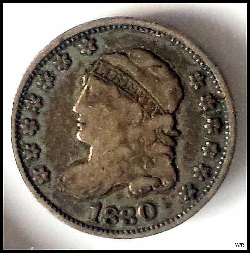 1830 P CAPPED BUST HALF DIME SILVER COIN: 5 cents