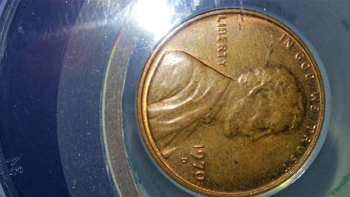 1970-D Lincoln cent Struck on Thick Planchett, 3.55 Grams