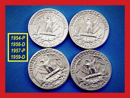 "Four Quarters 1954 1956 1957-D 1959-D – ""VF to XF""  (#2739)a"