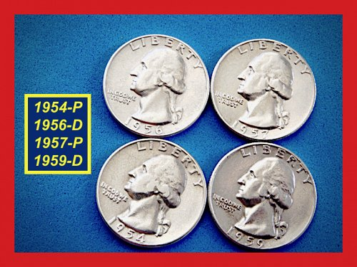 "Four Quarters 1954 1956 1957-D 1959-D – ""VF to XF""  (#2739)a"