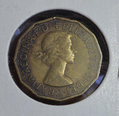1955 England Three Pence KM# 900