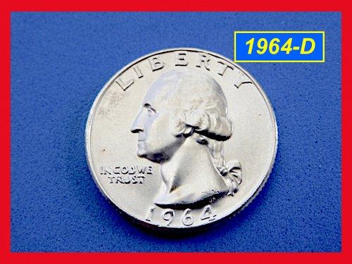 """1964-D   Washington SILVER Quarter  –  """"BU"""" Condition  –(#2555)"""