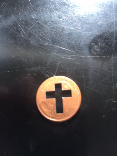 LINCOLN MEMORIAL CENT - PUNCHED CROSS