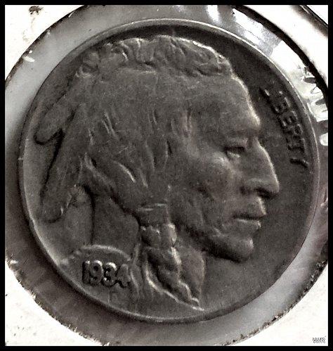 1934-P Buffalo Nickel Indian Head Nickel