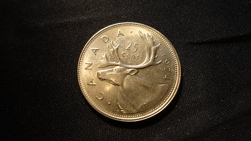 CANADA 1974 DOUBLE DATE 25 CENTS