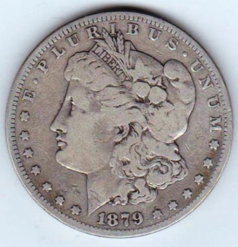 1879 S Morgan Dollar: Reverse of 1879. 7 Tail Feathers