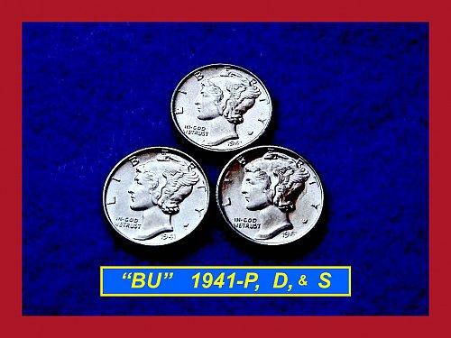 "1941-P D & S  YEAR SET  ✬ Mercury Dimes ✬  ""BU"" ✬    (#3186)b"
