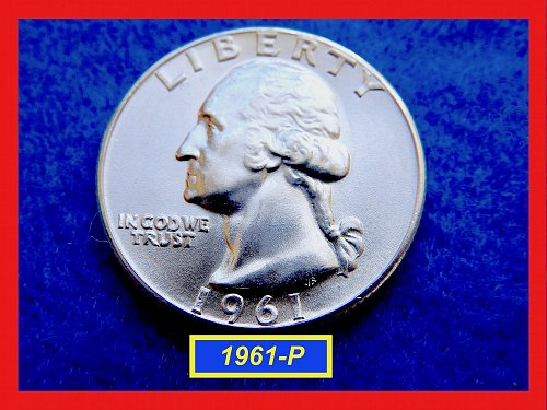"1961-P GEM UNC Washington Quarter  – ""Uncirculated"" – (#2744)a"