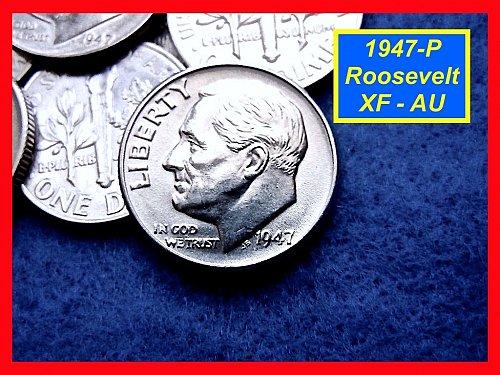 "1947-P Roosevelt Dime ★ Extreemly Nice ""XF-AU"" Coins ★ (#3477e)a"