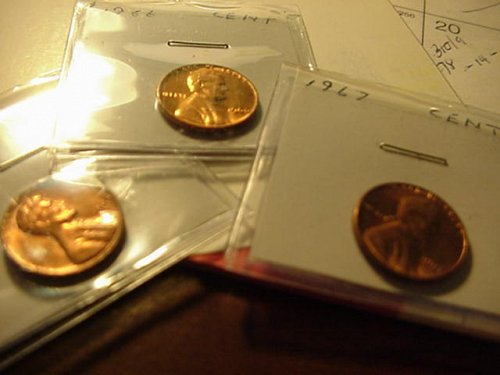 5-b/u pennys 1964,66,67,69,70