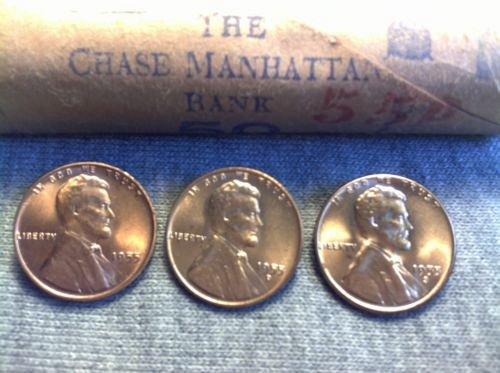 3-1955p,d,s b/u pennys