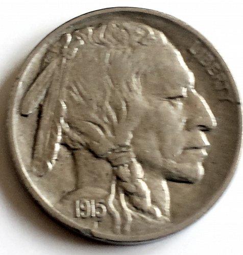 1915-P Indian Head Nickel Line Type w/ Buffalo Obverse