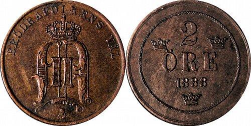 Sweden 1888  2 Öre   #0037