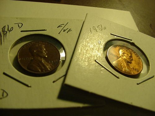 2-nice 1956p and 1956d pennys