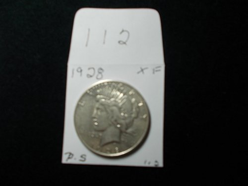 1928 S  PEACE DOLLAR  90% SILVER V/F  COIN  SEE DETAILS   #112