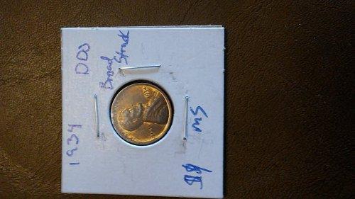1934 wheat penny error ms