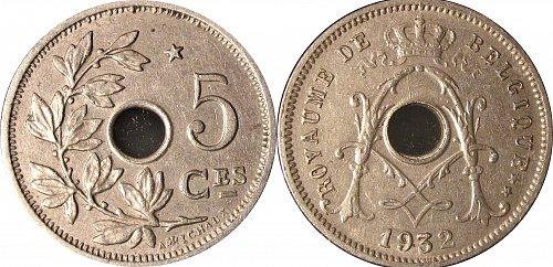 Belgium 1932 5 Centimes – M triple struck error   #0038