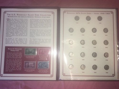 The US Roosevelt Silver Dime and Stamp collection