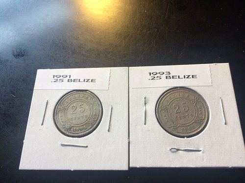 1991 & 1993 25 CENT BELIZE COINS