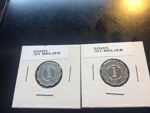 2000 & 2005 1 CENT BELIZE COINS