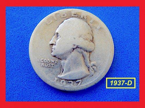 1937-D Washington Quarter — Very Circulated Condition — (#2733)b