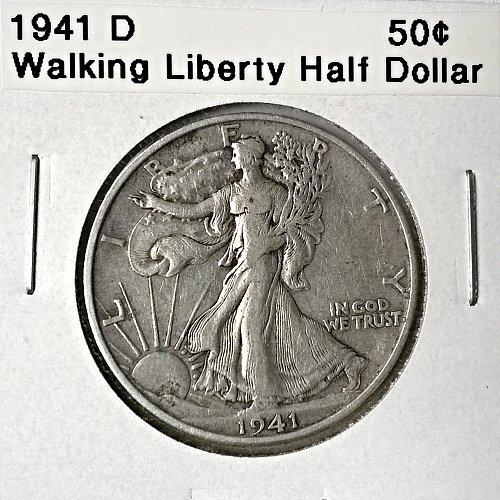 1941 D Walking Liberty Half Dollar - 6 Photos!