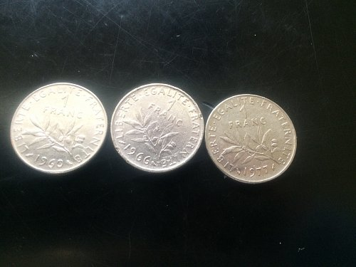 3 FRENCE 1 FRANC COINS  1960, 1966, 1977