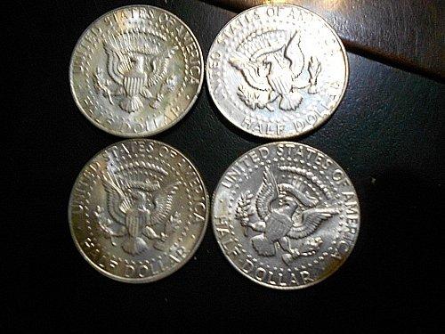 1966 Kennedy Half  Dollar  4-coin lot   40% Silver