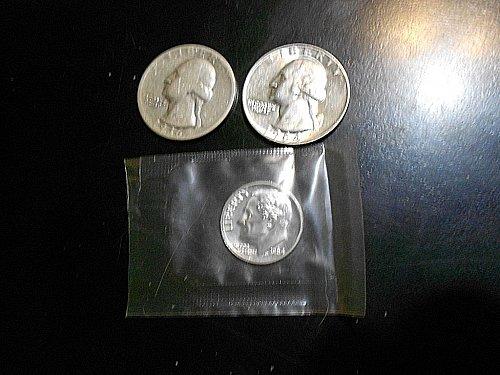 1936  3-  silver coin lot   1936-p washington quarter,  1964-d washington quarte